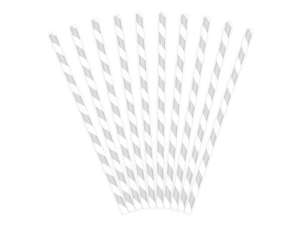 srebrne słomki papierowe do napojów