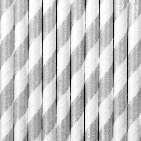 srebrne słomki papierowe, słomko papierowe w srebrno białe paski, papierowe srebrne słomki do napojów