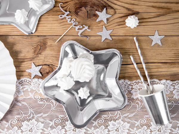 talerzyki papierowe srebrne gwiazdki, srebrne brokatowe gwiazdki, dekoracje srebrne, dekoracje brokatowe (1)