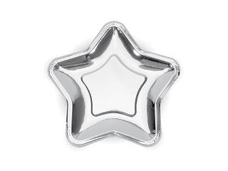 talerzyki papierowe srebrne gwiazdki, srebrne brokatowe gwiazdki, dekoracje srebrne, dekoracje brokatowe (2)