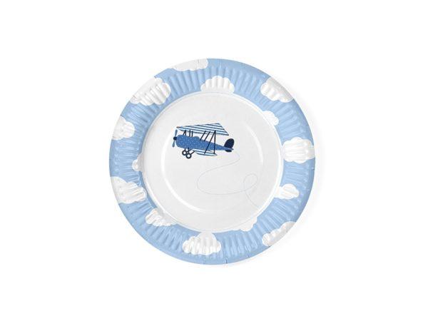 talerzyki papierowe, talerzyki tekturowe, talerzyki niebieskie talerzyki z samolotem, talerzyki jednorazowa