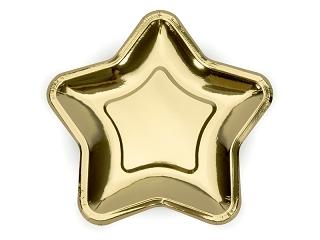 złote gwiazdki, talerzyki jednorazowe złote gwiazdki