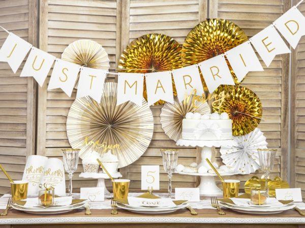 złote kubeczki do napojów, dekoracje weselne
