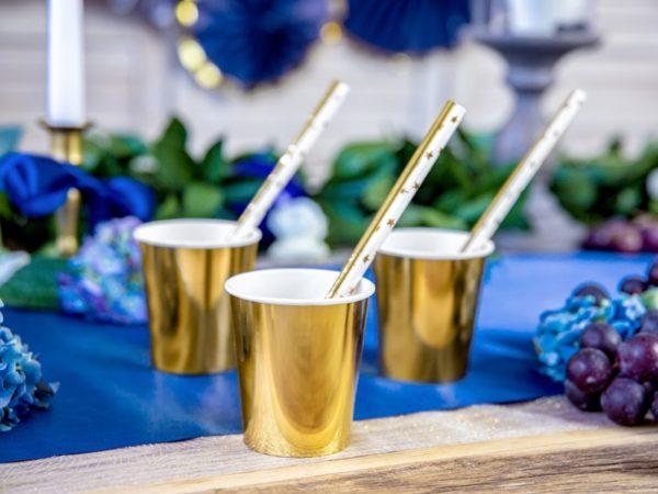 złote kubeczki do napojów, kubeczki na przyjęcia, kubeczki jednorazowe