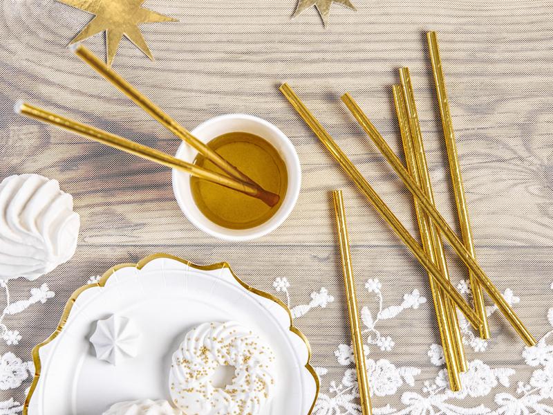 złote papierowe słomki do napojów, dekoracje candy-bar