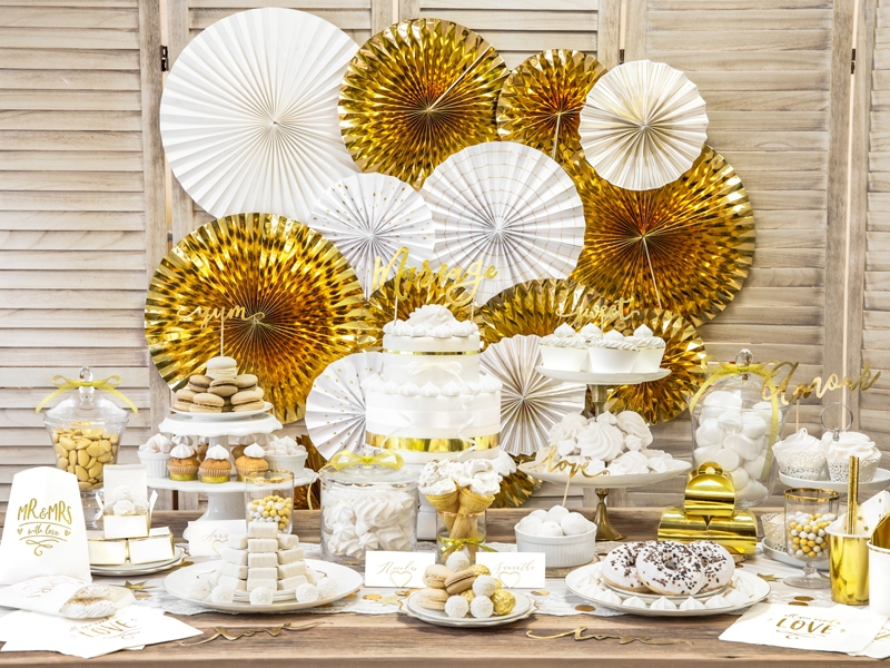 złote rozety papierowe, złote dekoracje candy-bar, złote dekoracje 18stkę, wesele, sylwestra, noworoczne