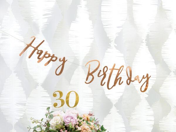 baner happy birthday golden rose, dekoracje golden rose, baner happy birthday różowe złoto, baner urodzinowy golden rose