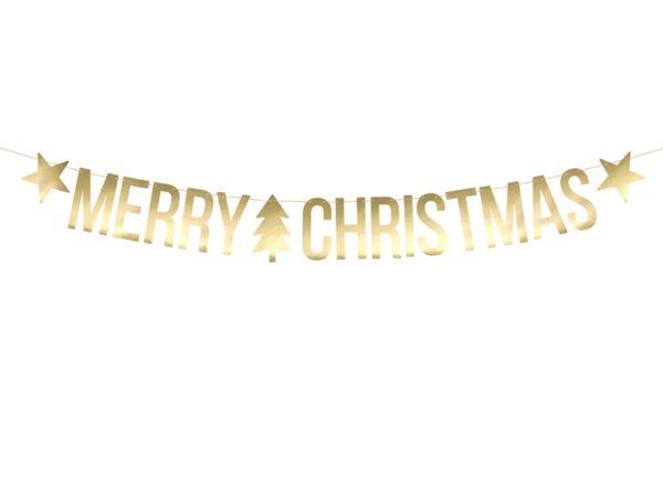 baner świąteczny, baner Merry Christmas złoty, złoty baner na święta, dekoracje świąteczne domu, dekoracje świąteczne wystawy sklepowej