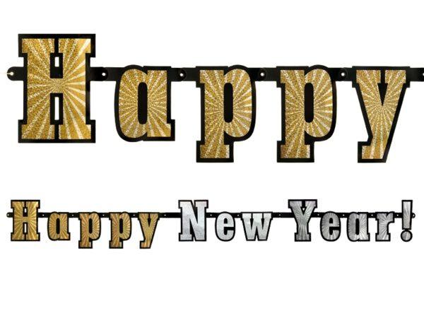 baner happy new year, dekoracyjny baner noworoczny, holograficzny baner na Sylwestra, karnawał