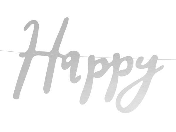 baner srebrny happy birthday, baner urodzinowy srebrny