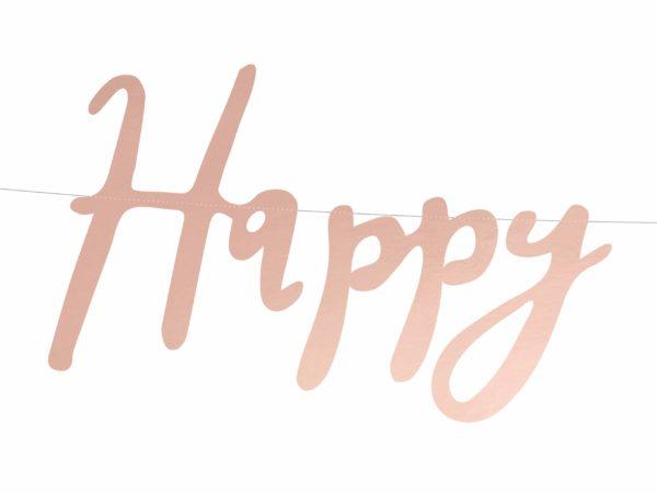 baner urodzinowy różowe złoto złoty róż baner happy birthday golden rose różowe złoto złoty róż