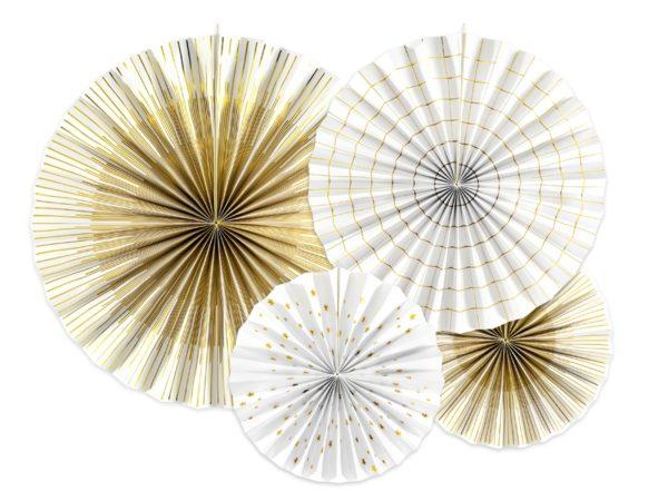 białe rozety papierowe ze złotym nadrukiem, biało-złote rozety