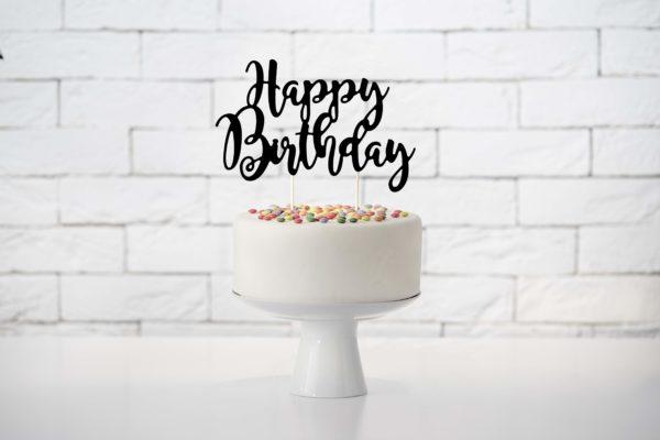 czarny topper na tort urodzinowy happy birthday