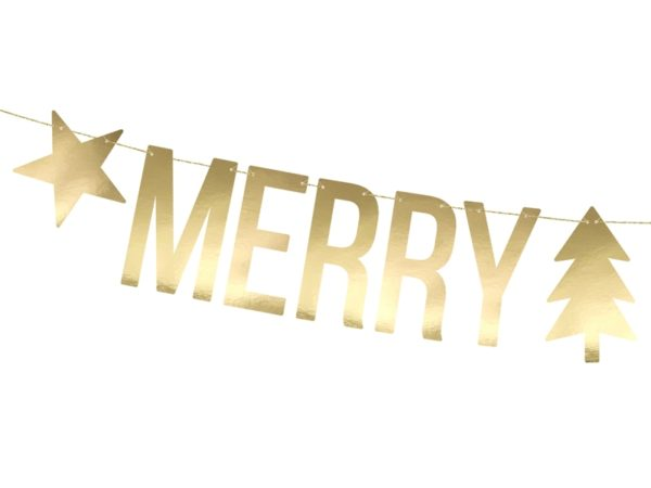 dekoracje świąteczne wystawy sklepowej, baner świąteczny, baner Merry Christmas złoty, złoty baner na święta, dekoracje świąteczne domu,