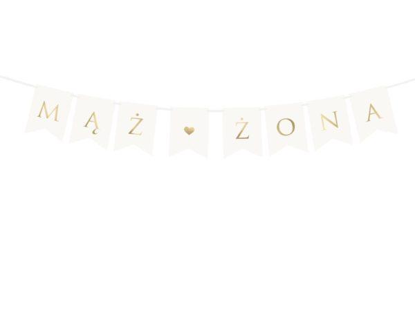 dekoracje candy-bar, baner na wesele, baner na ślub,baner na ściankę za Młodą Parą, dekoracje weselne, złoty napis Mąż Żona