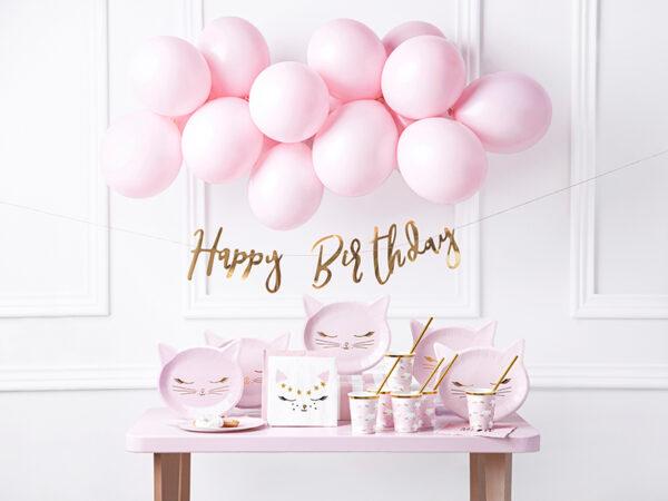 dekoracje urodzinowe golden rose, baner happy birthday golden rose, różowe złoto, złoty róż, baner urodzinowy różowe złoto, złoty róż