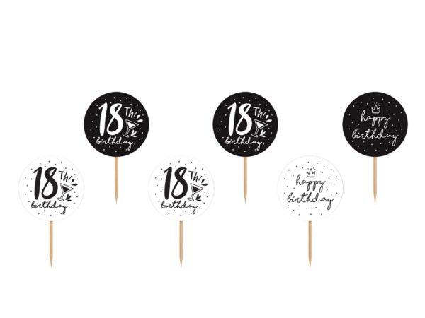 dekoracje na 18stkę, toppery do muffinek, dekoracje do muffinek, dekoracje cupcake na 18stkę,