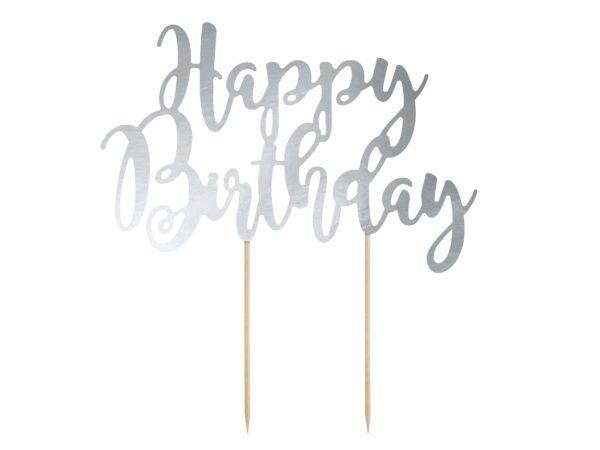 srebrny topper na tort urodzinowy