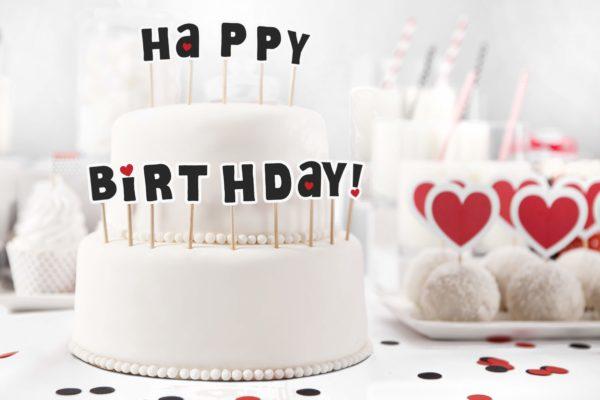 topper na tort happy birthday czarny, urodzinowe literki na piku happy birthday czarne, dekoracje tortu urodzinowego,