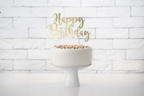 topper na tort urodzinowy złoto, złoty topper happy birthday