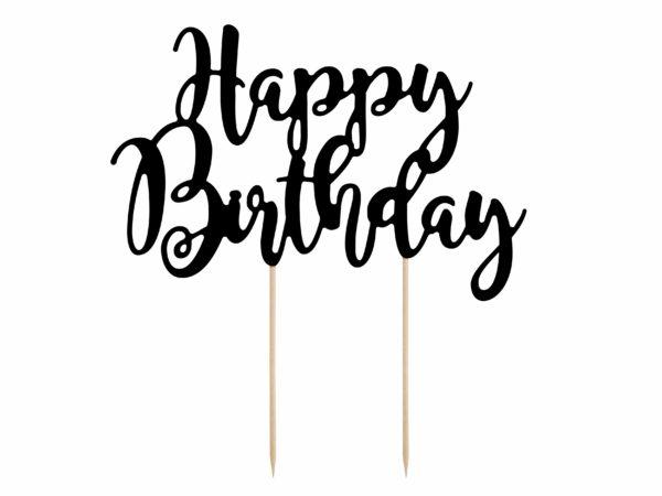 topper urodzinowy na tort happy birthday, czarny