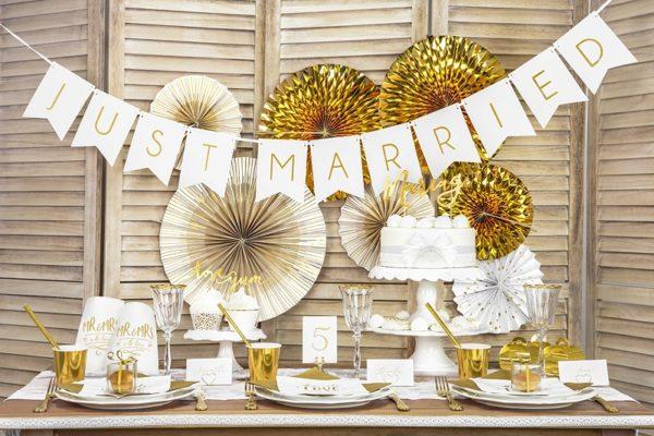torebeczki na upominki dla gości, torebki na słodycze MR&MRS złote, dekoracje candy-bar, torebki na słodycze z candy-bar złote, dekoracje weselne z serii MR&MRS,