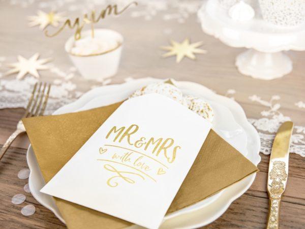 torebeczki na upominki dla gości, torebki na słodycze MR&MRS złote, dekoracje weselne z serii MR&MRS, dekoracje candy-bar, torebki na słodycze z candy-bar złote
