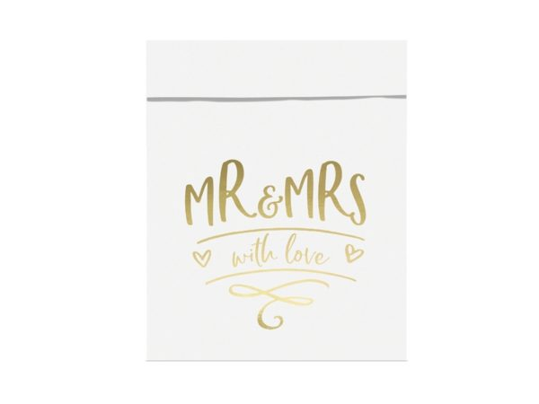 torebki na słodycze MR&MRS złote, dekoracje weselne z serii MR&MRS, dekoracje candy-bar, torebki na słodycze z candy-bar złote