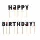 urodzinowe literki na piku happy birthday czarne, dekoracje tortu urodzinowego