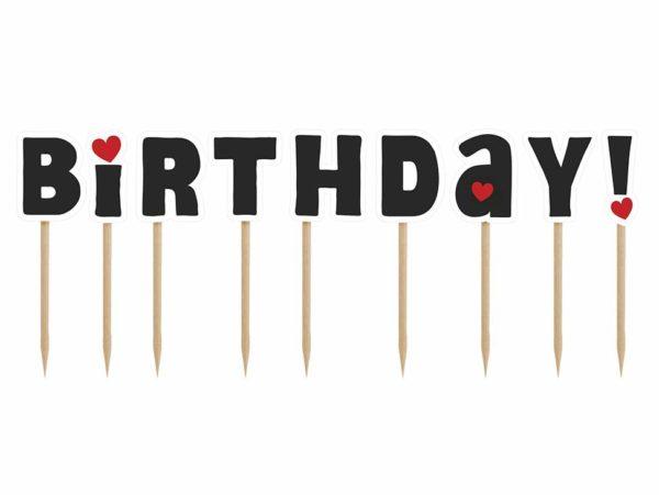 urodzinowe literki na piku happy birthday czarne, dekoracje tortu urodzinowego, topper na tort happy birthday czarny