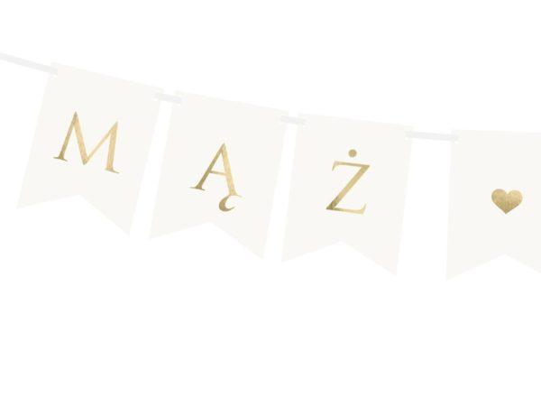 złoty napis Mąż Żona, dekoracje candy-bar, baner na wesele, baner na ślub,baner na ściankę za Młodą Parą, dekoracje weselne,