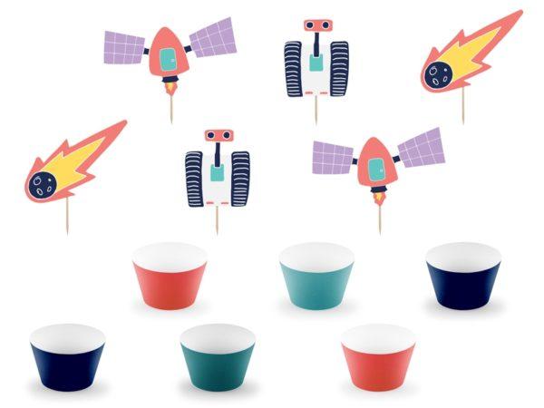 zestaw dekoracji cupcake, zestaw dekoracji do muffinek kosmos, dekoracje do ciasta i muffinek kosmos dla chłopca