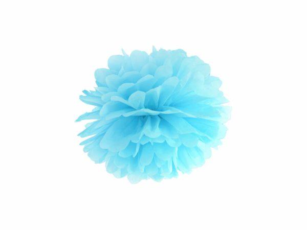 błękitny pompon papierowy 25 cm, dekoracje candy-bar, dekoracje ślubne, dekoracje na wystawy sklepowe