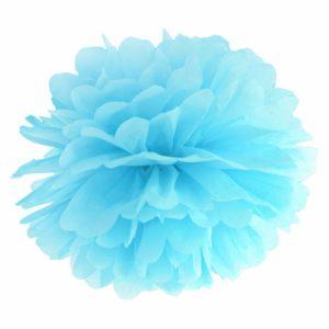 błękitny pompon papierowy 35 cm, dekoracje candy-bar, dekoracje ślubne, dekoracje na wystawy sklepowe