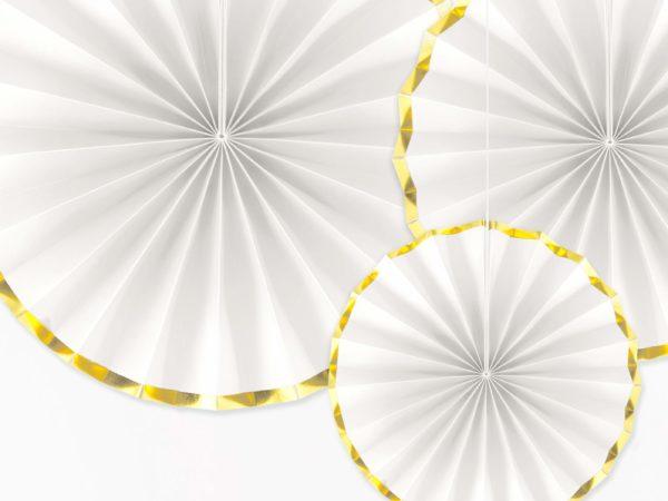 białe ze złotym brzegiem ozdobne rozety papierowe, dekoracje candy-bar, dekoracje weselne, dekoracje urodzinowe, dekoracje wystaw sklepowych