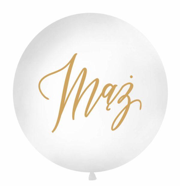 biały balon gigant z napisem mąż, balon 1m, ślubny balon gigant, wielki balon na wesele, dekoracje weselne