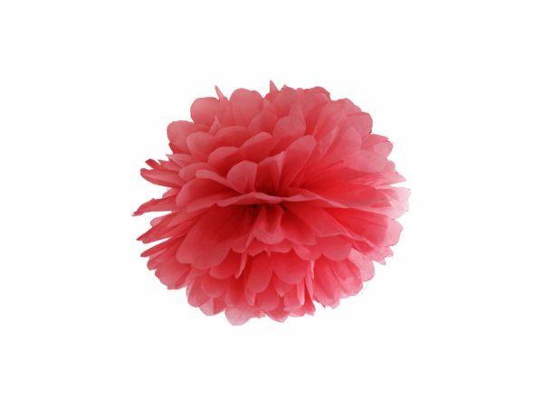 czerwony pompon papierowy 25 cm, dekoracje candy-bar, dekoracje ślubne, dekoracje na wystawy sklepowe
