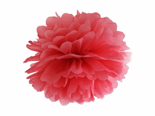 czerwony pompon papierowy 35 cm, dekoracje candy-bar, dekoracje ślubne, dekoracje na wystawy sklepowe