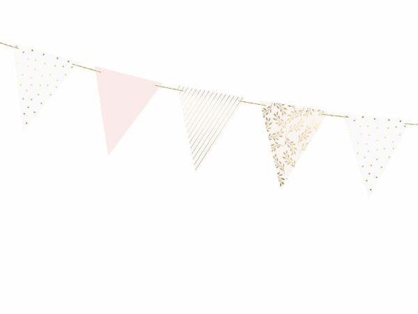 dekoracje słodkiego stołu girlanda flagietki pudrowy róż biel złoto, dekoracja candy-bar, dekoracja stołu, dekoracje weselne