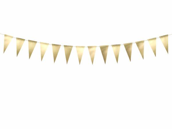 girlanda złote flagietki , dekoracja candy-bar, dekoracja stołu, dekoracje weselne, dekoracje urodzinowe