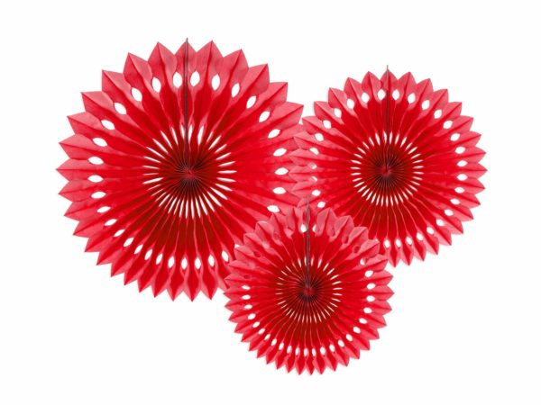 ozdobne rozety papierowe czerwone, dekoracje candy-bar, dekoracje weselne, dekoracje urodzinowe, dekoracje wystaw sklepowych