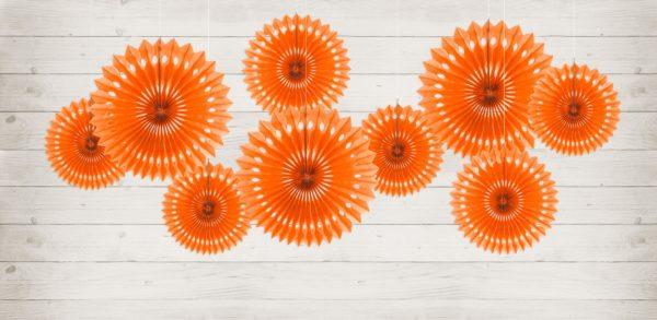 ozdobne rozety papierowe pomarańczowe, dekoracje candy-bar, dekoracje weselne, dekoracje urodzinowe, dekoracje wystaw sklepowych