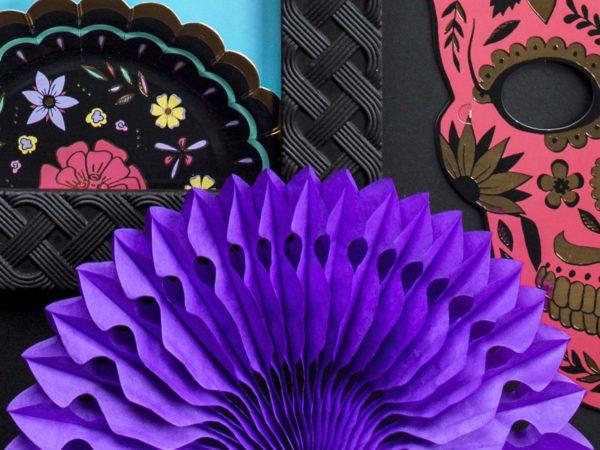 ozdobne rozety papierowe purpura, dekoracje candy-bar, dekoracje weselne, dekoracje urodzinowe, dekoracje wystaw sklepowych