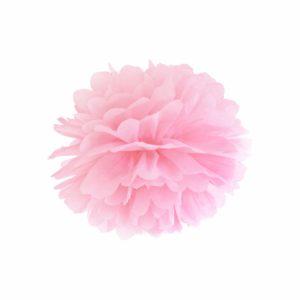 pompon papierowy 25 cm pudrowy róż, dekoracje candy-bar, dekoracje ślubne, dekoracje na wystawy sklepowe