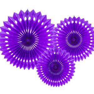 purpurowe ozdobne rozety papierowe, dekoracje candy-bar, dekoracje weselne, dekoracje urodzinowe, dekoracje wystaw sklepowych