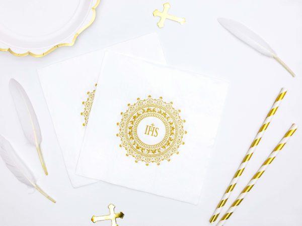 serwetki papierowe na przyjęcie z okazji I Komunii Św.