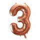 balon cyfra 3 golden rose, różowo złote balony urodzinowe cyfry, dekoracje złoty róż na imprezę, balon cyfra foliowa 3, 86 cm, balony na imprezy,