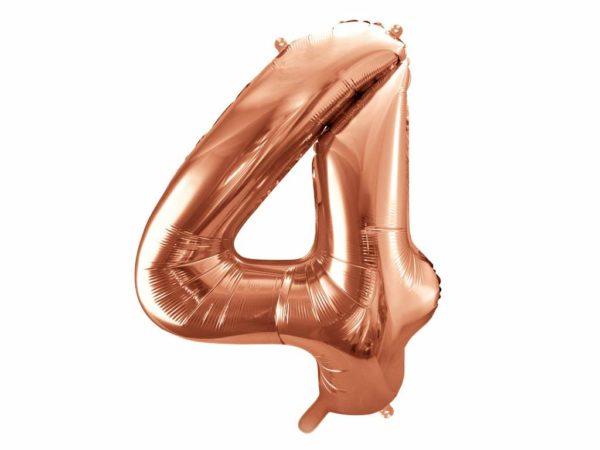 balon cyfra 4 golden rose, dekoracje różowe złoto na imprezę, różowo złote balony urodzinowe cyfry, balon cyfra foliowa 4, 86 cm, balony na imprezy,