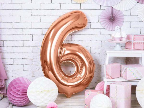 balon cyfra 6 golden rose, balon cyfra foliowa 6, różowo złote balony urodzinowe cyfry, balony na imprezy, dekoracje różowe złoto na imprezę, 86 cm,