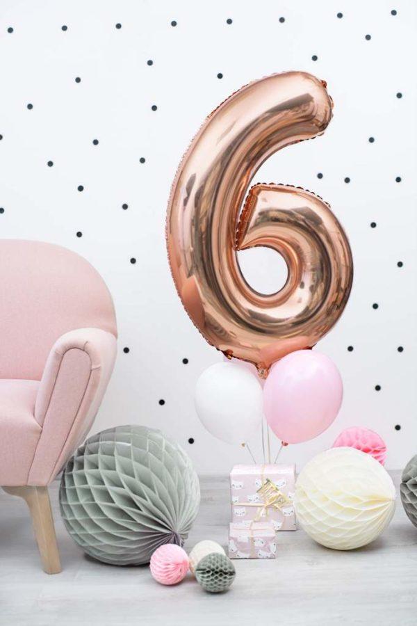 balon cyfra 6 golden rose, dekoracje różowe złoto na imprezę, balon cyfra foliowa 6, różowo złote balony urodzinowe cyfry, balony na imprezy, 86 cm,